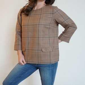[Pendleton] plaid wool 3/4 sleeve top